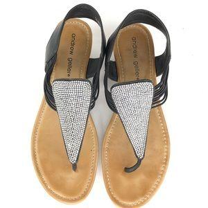 Andrew Gellar Black Metal Studded Thong Sandals 7M